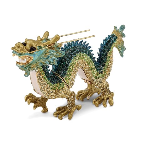 Bejeweled Trinket Box - Bejeweled Pewter Enamel Chi Dragon Trinket Box