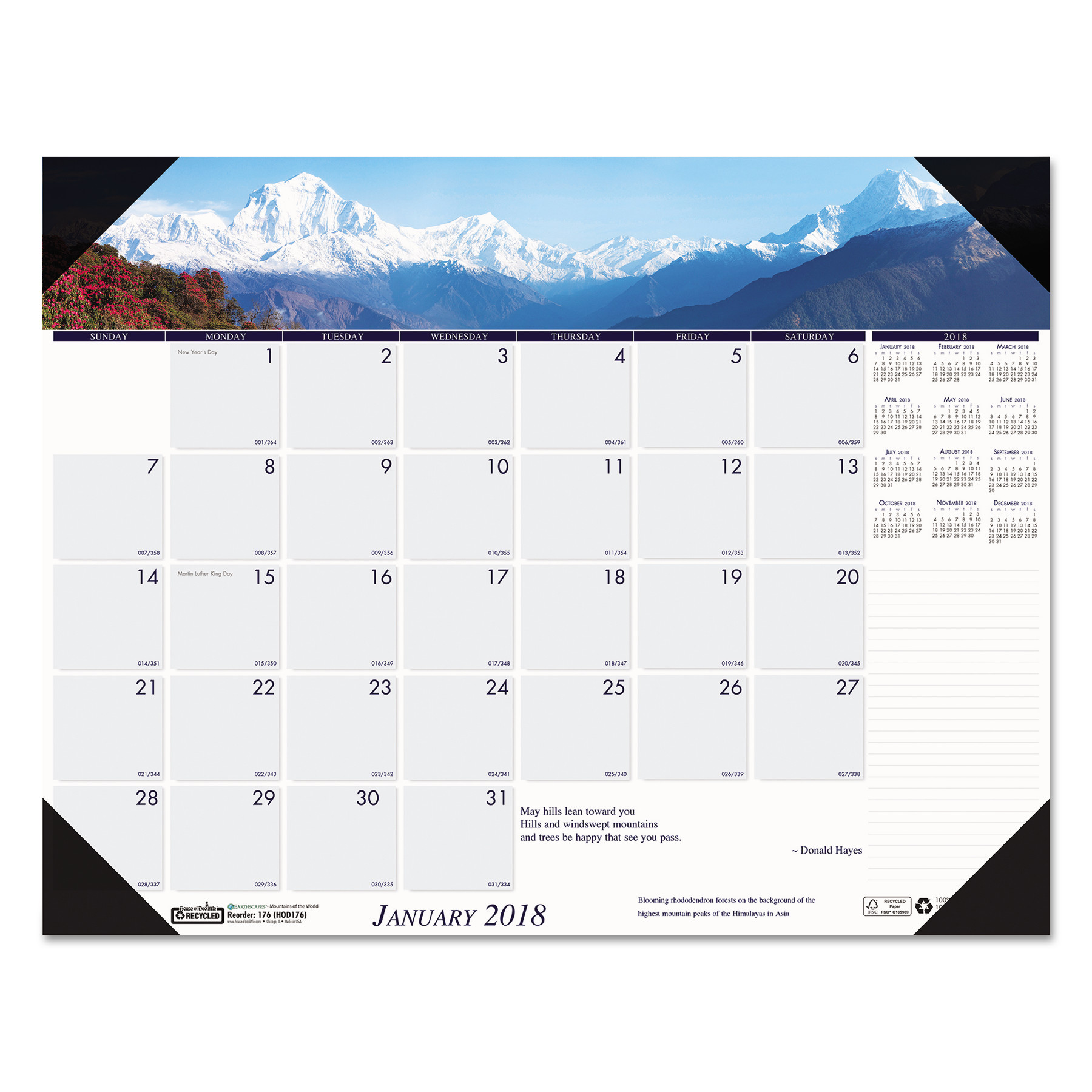 House of Doolittle Recycled Mountains of the World Photo Monthly Desk Pad Calendar, 22 x 17, 2018 by HOUSE OF DOOLITTLE