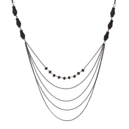 Black Bead Bib Necklace - Sparkling Women Black Beaded Necklace By Urban Jewelry (Long Necklace - 34-41