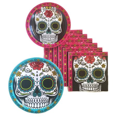 Day of the Dead Dia De Los Muertos Sugar Skull Party Supplies Paper Plate and Napkin Bundle of 3 - Service for 16, Day of the Dead Dia De Los.., By Party Creations - Neon Paper Plates And Napkins
