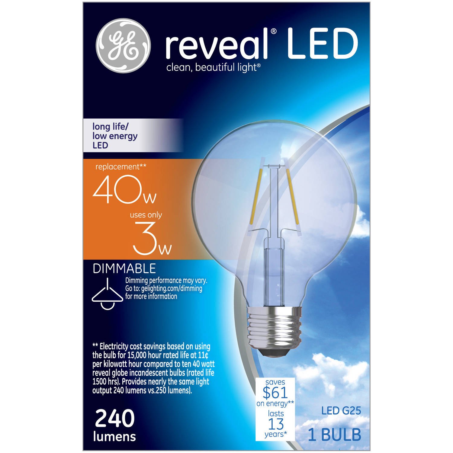 ge reveal 40w equivalent uses 3w clear g25 decorative globe led bulb 1
