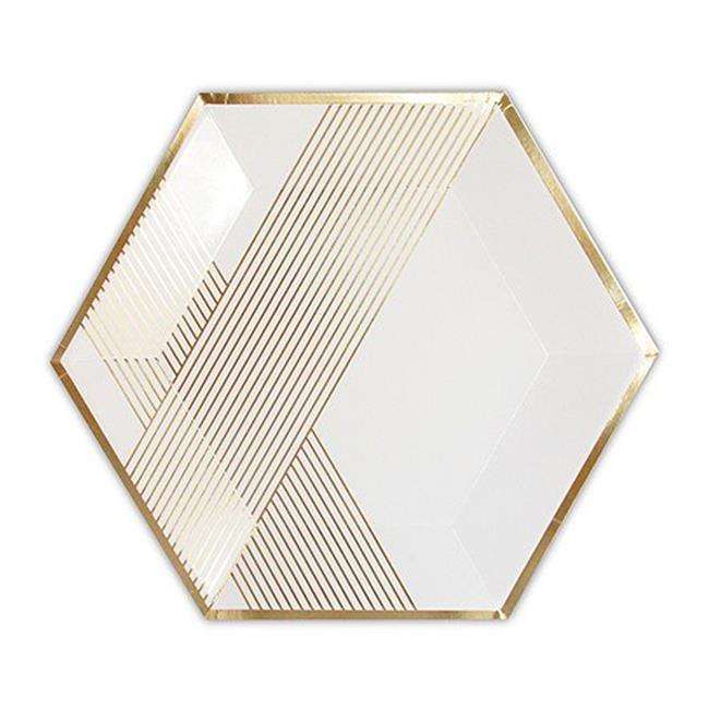 "Harlow & Grey, Blanc White and Gold Foil Striped Large Paper Plates, Hexagon, 10.5"", 8 Count"