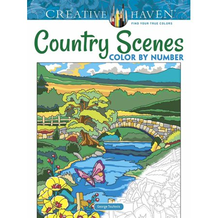Creative Haven Country Scenes Color by Number Coloring Book - Number Book