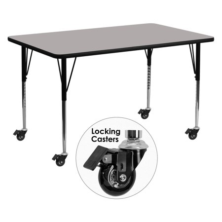 Flash Furniture Mobile 24''W x 60''L Rectangular Activity Table with 1.25'' Thick High Pressure Grey Laminate Top and Standard Height Adjustable Legs