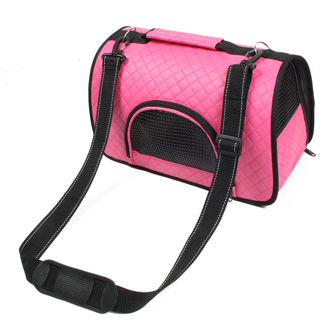 Travel Soft Faux Leather Meshy Zipper Pocket Pet Puppy Carrier Tote Bag Fuchsia