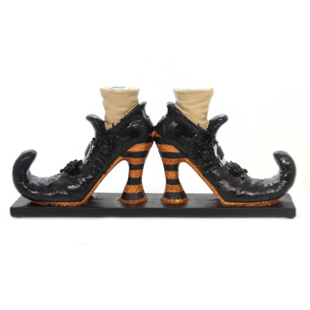Halloween WITCHES SHOE CANDLE HOLDER Black Curled Toes Glittered 6379768 - Halloween Toes Designs