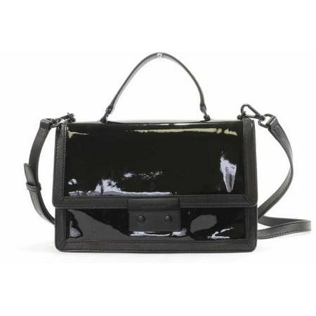Michael Kors Patent Leather Callie Frame Out Messenger Medium Cross Body Bag Black