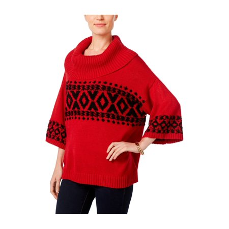 Style&co. Womens Fair-Isle Cowl Pullover Sweater (Isle Sweater)