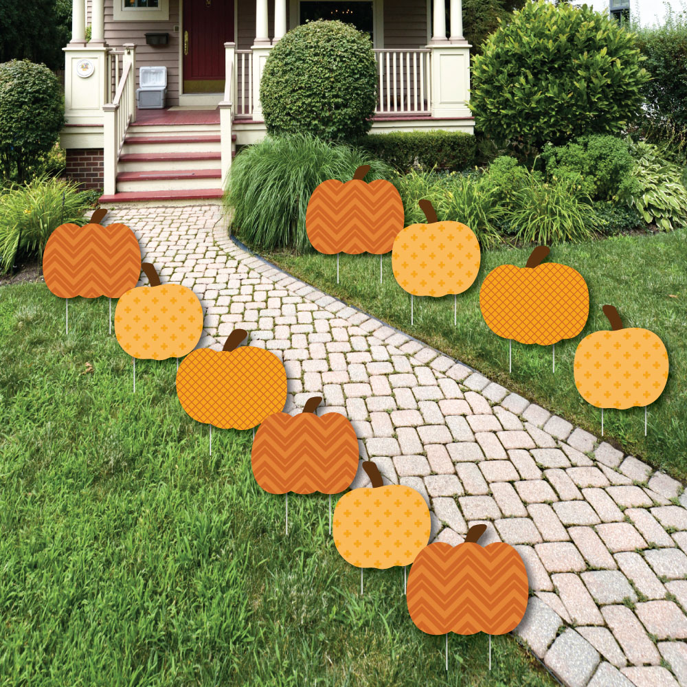 Big Dot of Happiness Pumpkin Patch - Pumpkin Lawn Decorations - Outdoor Fall or Halloween Yard Decorations - 10 Piece, Grey