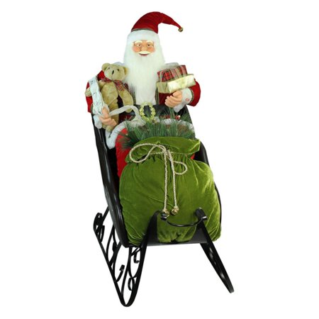 Northlight 4 ft. Deluxe Animated Musical Santa Claus in Jeweled Sleigh