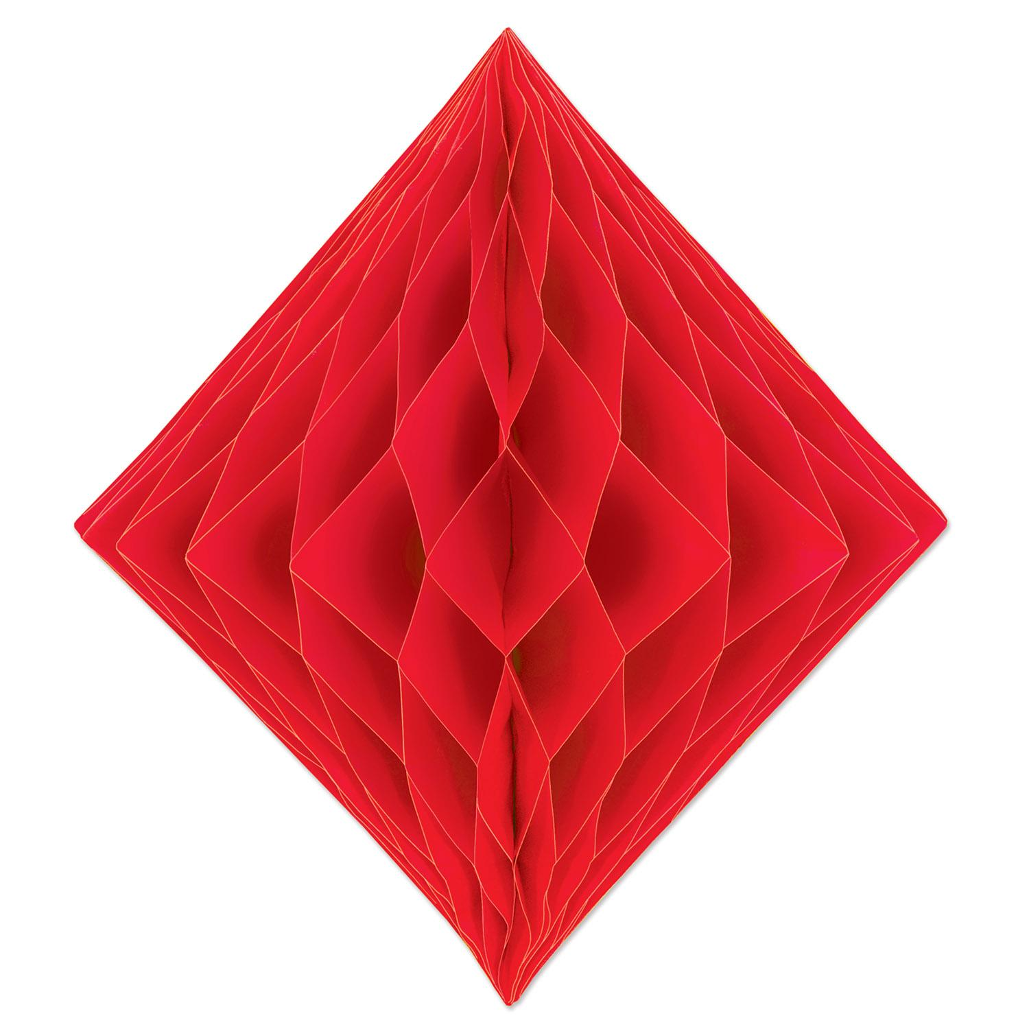 Club Pack of 12 Honeycomb Vibrant Red Diamond Hanging Decorations 12.5""