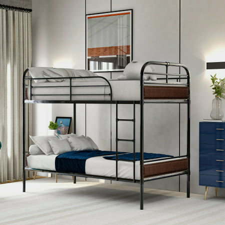 Twin over Twin Bunk Bed with Sturdy Steel Frame and Upholstered Headboards, Rivet Decoration, Convertible Bunk Bed (New)