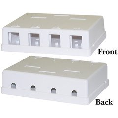 Blank Surface Mount Box for Keystones, 4 Hole, White Blank Surface Mount Box