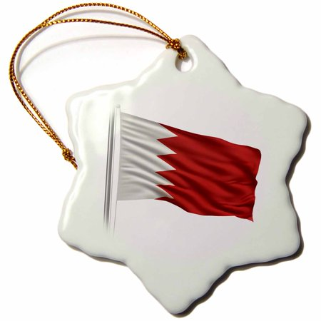 3dRose Flag of Bahrain on a flag pole over white Bahraini, Snowflake Ornament, Porcelain, 3-inch