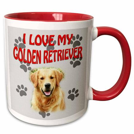 3dRose I Love my Golden Retriever. Canvas. Cute dog. - Two Tone Red Mug, 11-ounce