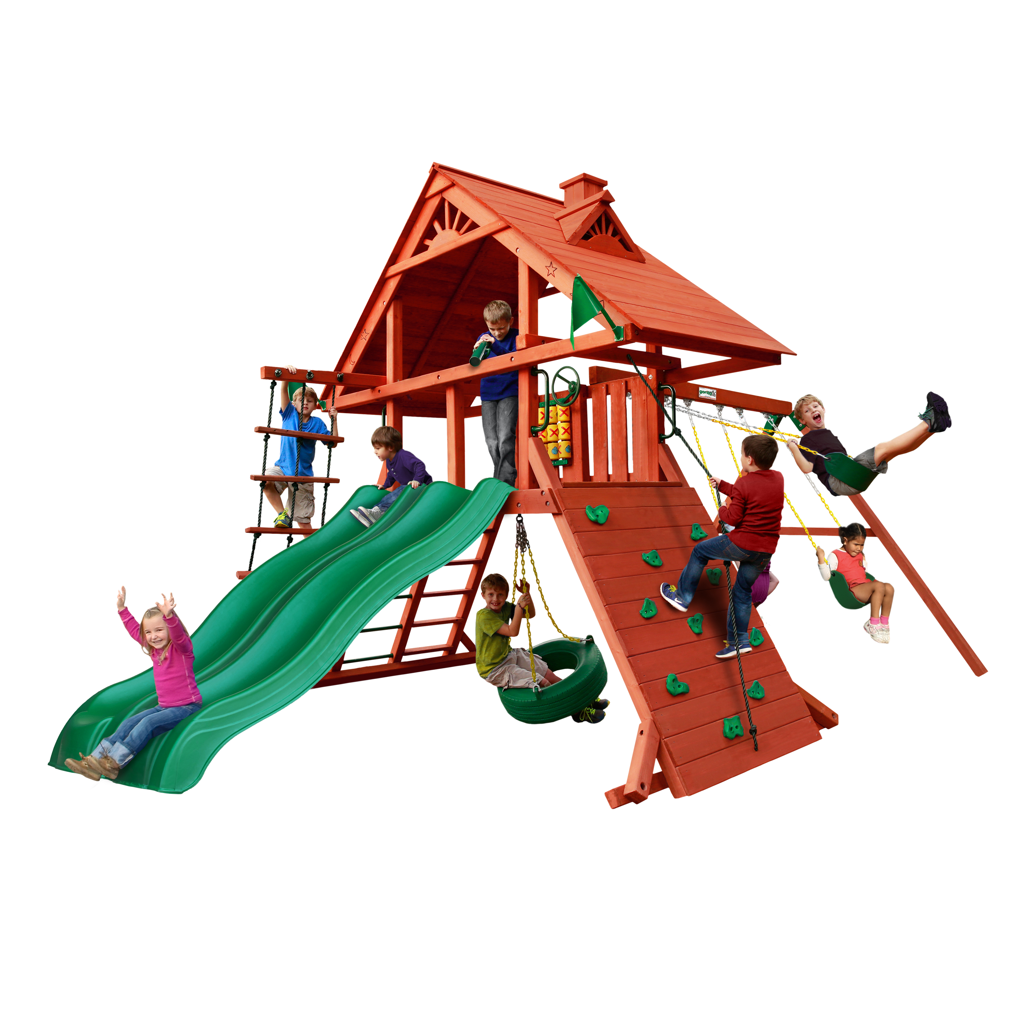 Gorilla Playsets Sun Palace Extreme Wooden Swing Set With 2 Slides