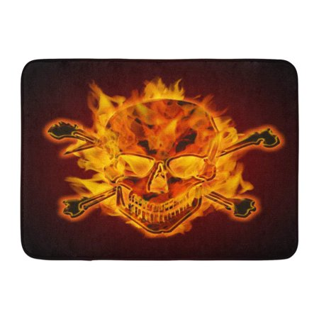 GODPOK Abstract Head Fire Burning Flaming Metal Skull with Crossbones on Dark Spooky Anatomy Rug Doormat Bath Mat 23.6x15.7 inch ()