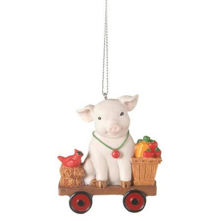 Adorable Pig on a Cart Christmas Ornament