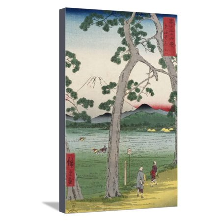 Fuji on the Left of the Tokaido Road, from 'Thirty Six Views of Mount Fuji' Stretched Canvas Print Wall Art By Ando (Thirty Six Views Of Mount Fuji Prints)