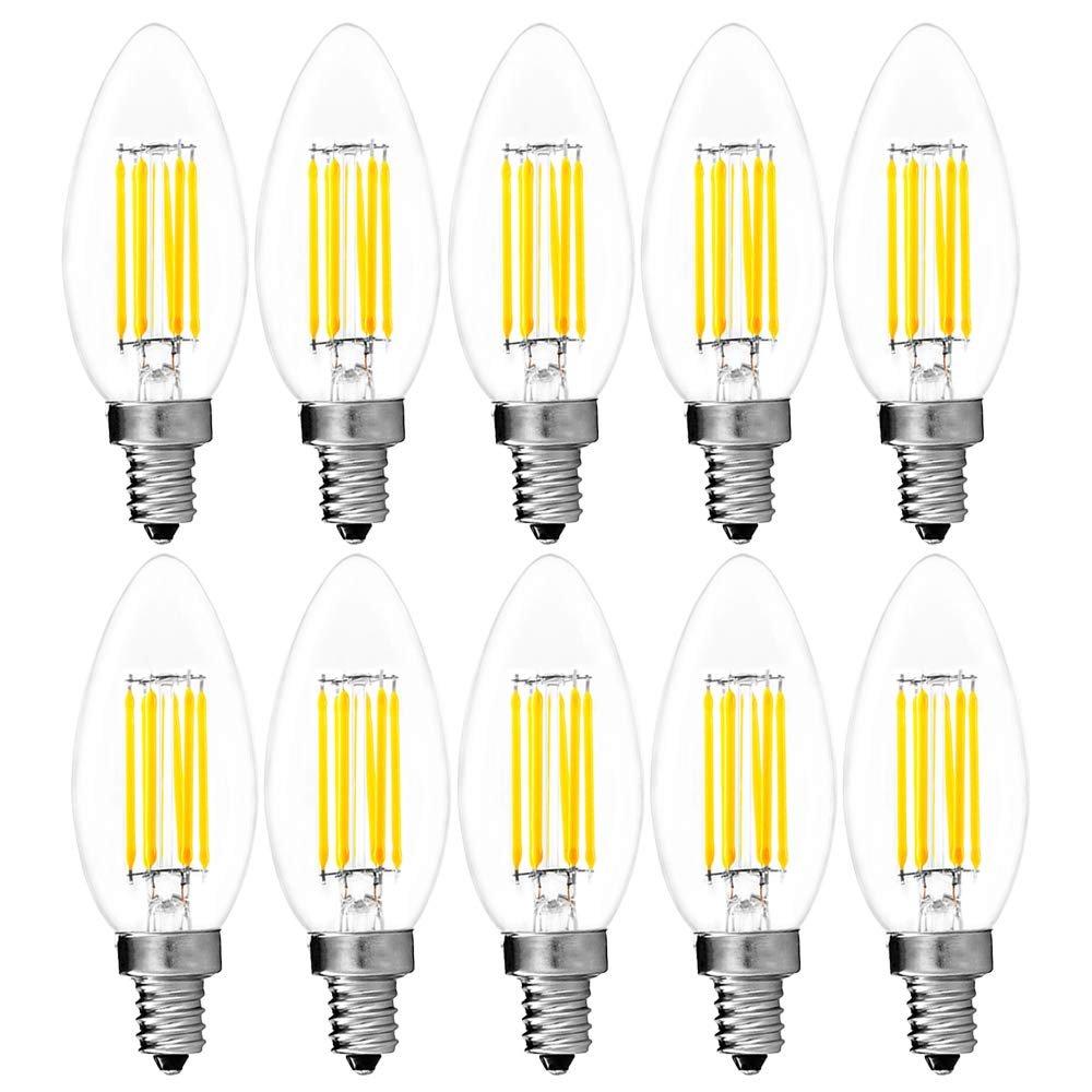 6-Pack Candelabra LED E12 Bulb 6W LED Torpedo Bulb 650 Lumens E12 Candle Base 5000K Bright White 60W Candelabra Bulb LED UL Listed Luxrite