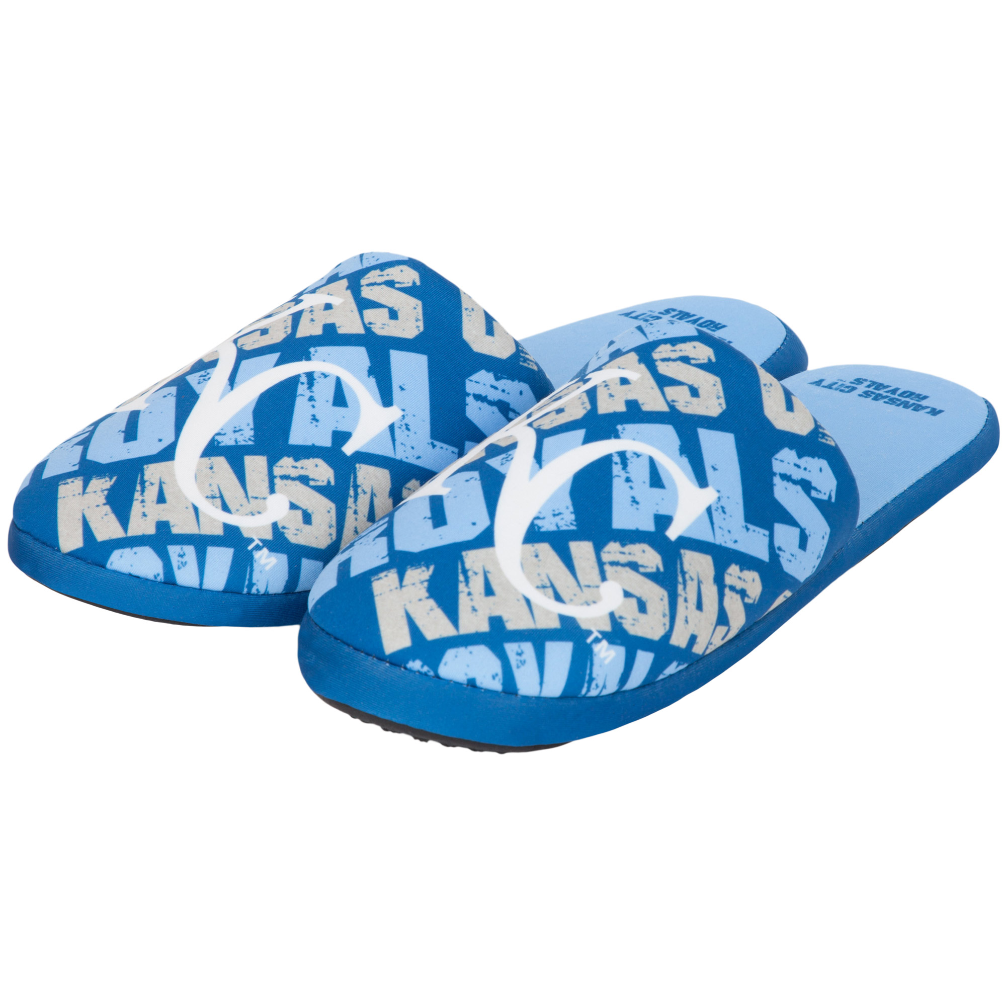 Kansas City Royals Youth Wordmark Printed Slippers - Royal