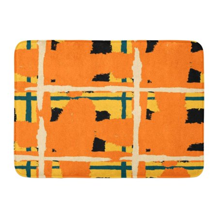 GODPOK Abstract Tartan Grunge Pattern with Hand Crossing Lines for Linen Sportswear Rustic Check Scottish Rug Doormat Bath Mat 23.6x15.7 inch