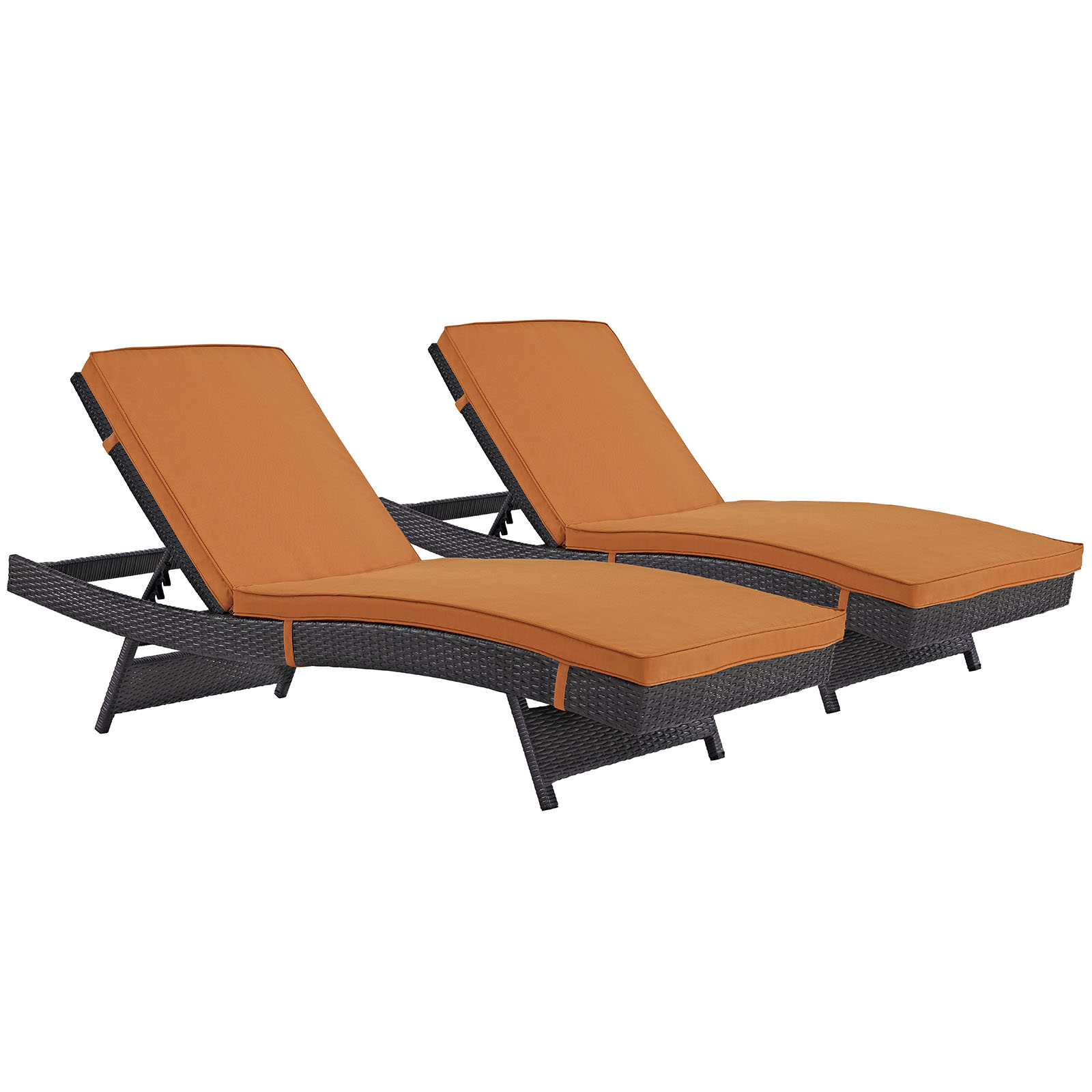 Modern Contemporary Urban Design Outdoor Patio Balcony Chaise Lounge Chair ( Set of 2), Orange, Rattan