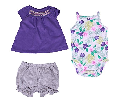 Carter's Baby Girl 3-Pc Floral and Smocked Diaper Cover Set (3 Month, Purple/Multi)