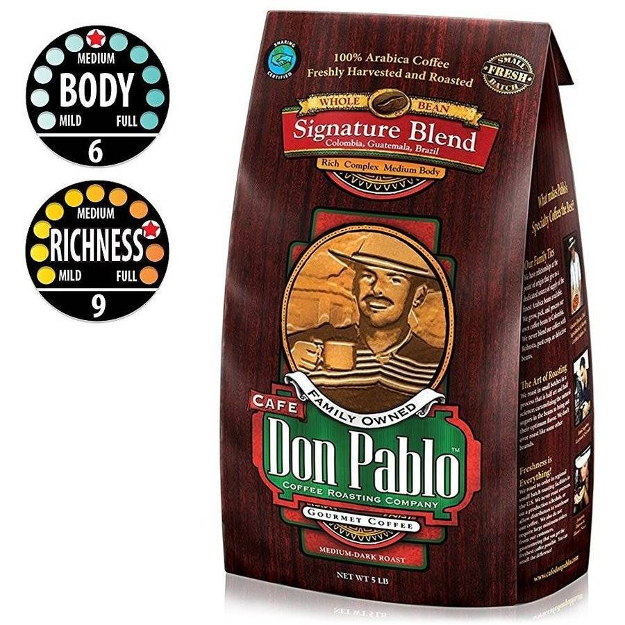 5LB Cafe Don Pablo Signature Blend Gourmet Coffee - Medium-Dark Roast - Whole Bean Coffee - 100% Arabica, 5 Pound