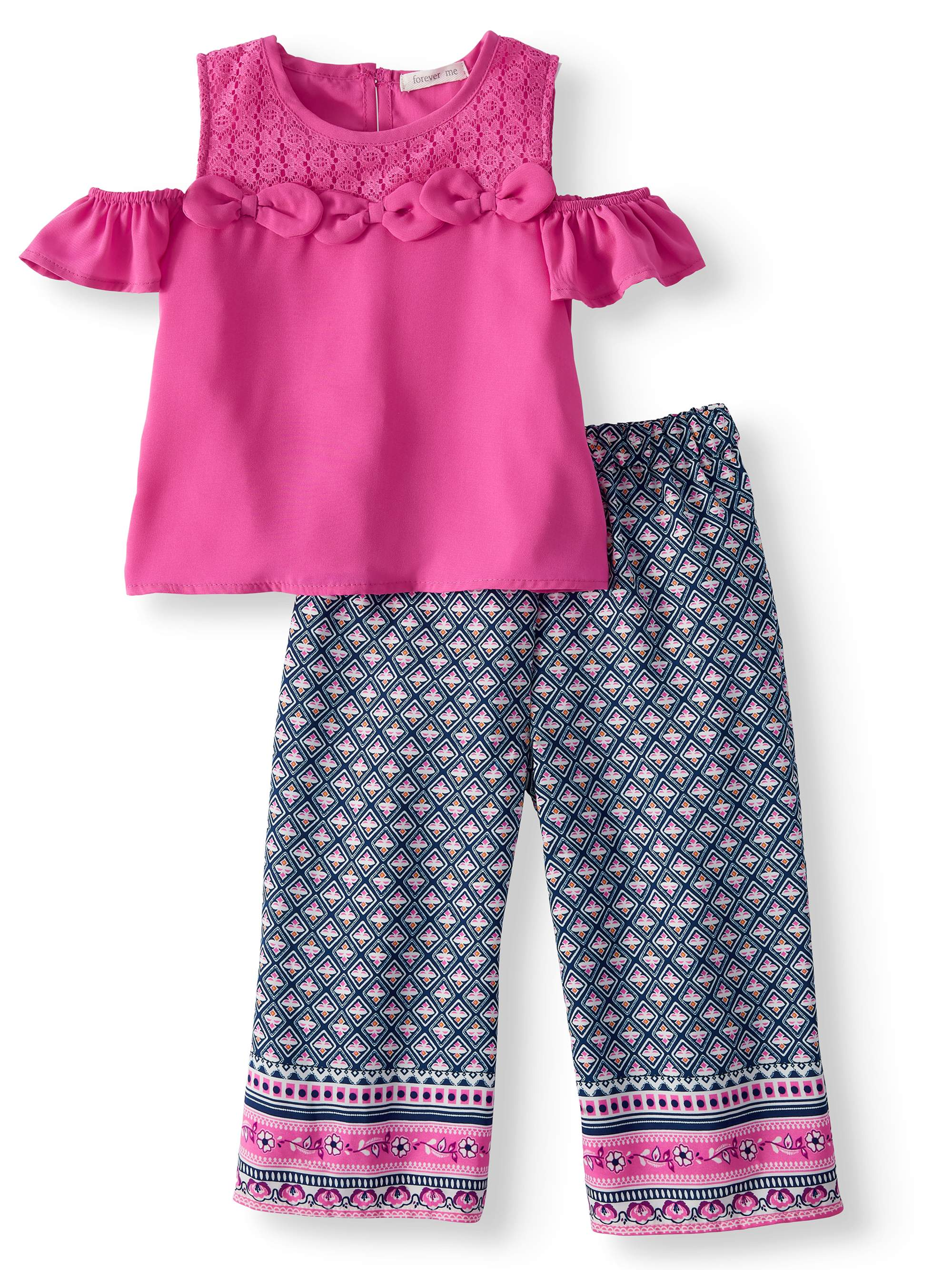 Cold Shoulder Top and Border Print Gaucho, 2-Piece Outfit Set (Little Girls)