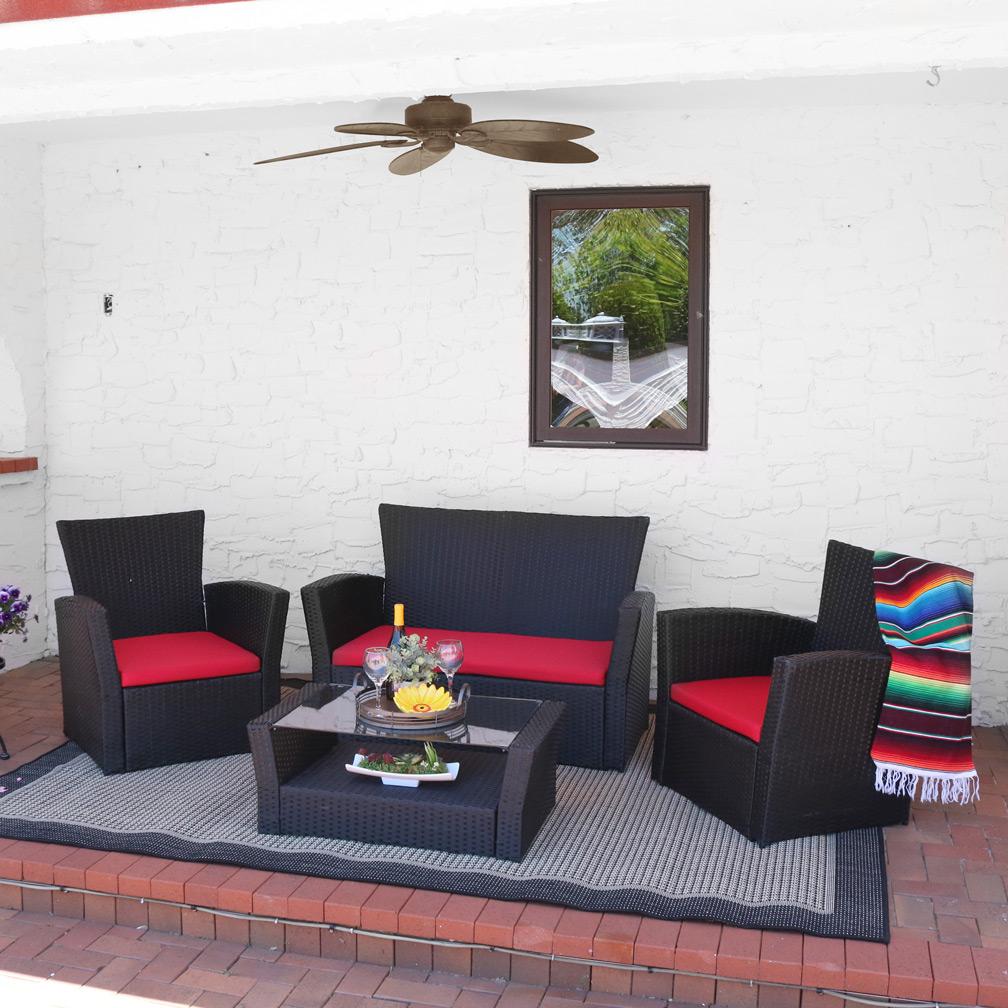 Sunnydaze Brisbane 4-piece Outdoor Rattan Patio Furniture ...