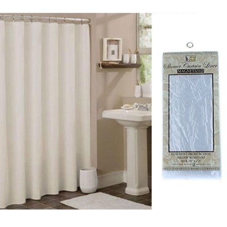 Shower Curtain Liner 100 Vinyl White 70x72 Magnetic Water Mildew Repellent Bath