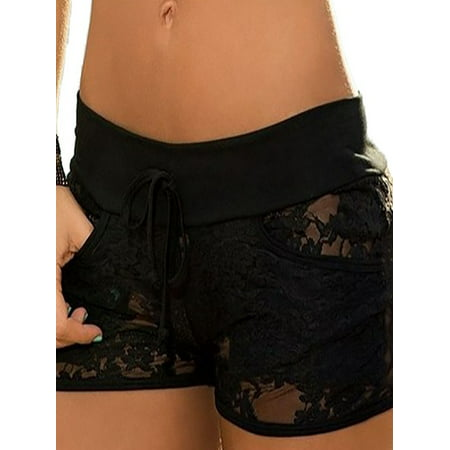 OUMY Women See Through Lace Floral Shorts Hot Pants