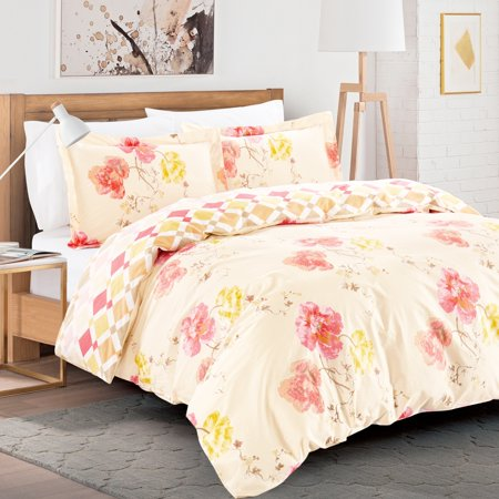 Garden Duvet Set - California Design Den Aviemore Garden Duvet Cover Set Cotton Blush, King 3 piece