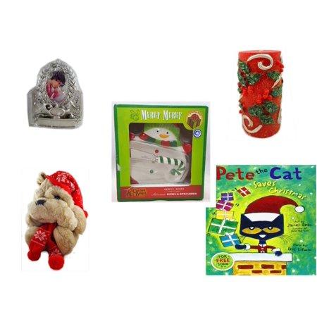 Christmas Fun Gift Bundle [5 Piece] - Hallmark Academics Photo Frame Ornament QXG4795 -  Candle Holly Berry Pillar 3 x 6 - Cracker Barrel Serveware Snowman Bowl & Spreader - Commonwealth Shar pei