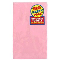 "Big Party Pack Durable Guest Towels Tableware, New Pink, Paper , 4"" x 7"", Pack of 40"