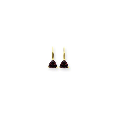 14k Yellow Gold 6mm Trillion Red Garnet Leverback Earrings Lever Back Drop Dangle Gemstone Prong Fine Jewelry For Women Gift -