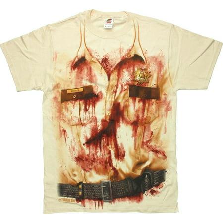 Walking Dead Rick Bloody Uniform T - Rick Ross Halloween Shirt