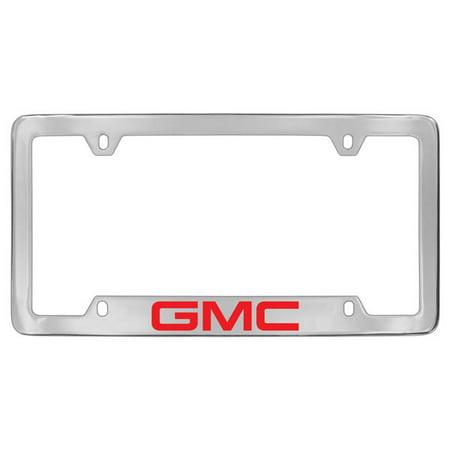 Gmc Red Logo Chrome Plated Metal Bottom Engraved License Plate Frame Holder