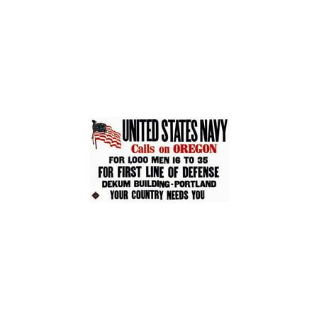 United States Navy Calls - United States Navy Calls On Oregon Print (Unframed Paper Print 20x30)
