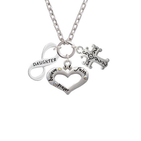 Scroll Heart - Daughter Infinity Sign Believe Faith Prayer Heart and Scroll Cross Zoe Necklace
