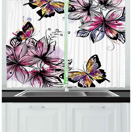 Floral Curtains 2 Panels Set, Flower Blooms Botany Bouquets with Colorful Butterflies Paintbrush Watercolor Print, Window Drapes for Living Room Bedroom, 55W X 39L Inches, Multicolor, by Ambesonne Butterfly Framed Panel Print