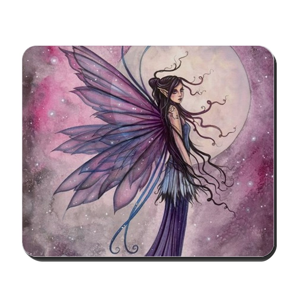 CafePress - Starlit Amethyst Fairy Art - Non-slip Rubber Mousepad, Gaming Mouse Pad