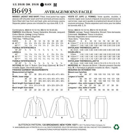 Butterick Pattern Misses Lined Princess Seamed Raglan Sleeve Jacket And Ski 6 8 10 12 14
