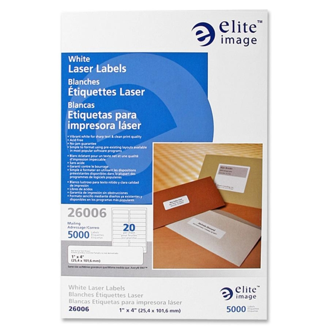 "Elite Image Mailing Laser Label - Permanent Adhesive - 1"" Width x 4"" Length - Rectangle - Laser - White - 5000 / Pack"