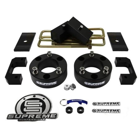 "Supreme Suspensions - Chevy Silverado + GMC Sierra 1500 Lift Kit Full Suspension Lift 3.5"" Front Suspension Lift CNC T6Aircraft Billet+3"" Rear Suspension Lift + Shock Extenders + Diff Drop + Shims"