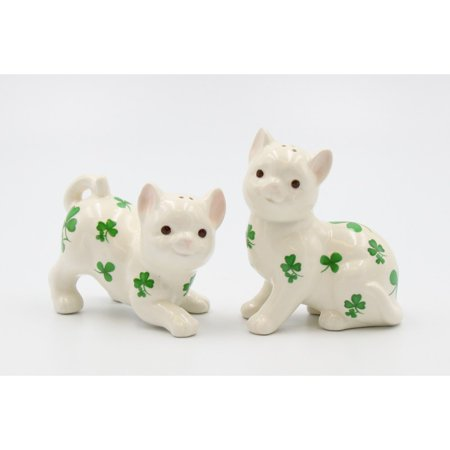 Shamrock Cats Salt and Pepper Shakers