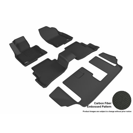 3D Maxpider 2016 2017 Mazda Cx 9 Front  Second    Third Row Set All Weather Floor Mats In Black With Carbon Fiber Look