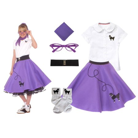 Child 6 pc - 50's Poodle Skirt Outfit - Small Child 4 / - 50s Kids Fashion