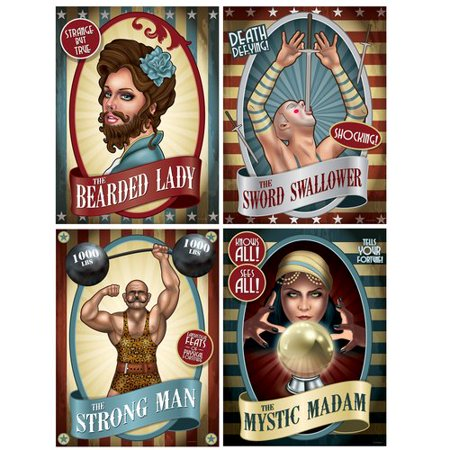 The Beistle Company 4 piece Vintage Circus Poster Standup Set (Set of 3) - Circus Door Decorations